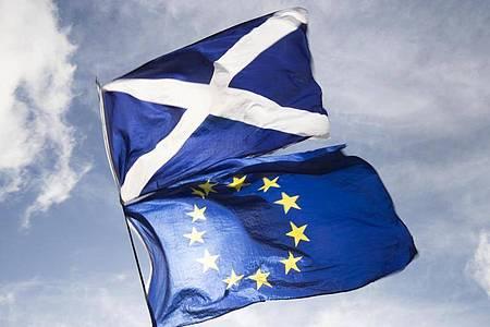 Die Flaggen von Schottland und der EU. Foto: Jane Barlow/PA Wire/dpa