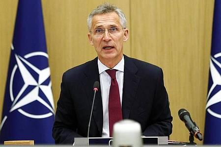 Nato-Generalsekretär Jens Stoltenberg spricht bei einer Videokonferenz am 17. Juni. Foto: Francois Lenoir/Reuters Pool/AP/dpa