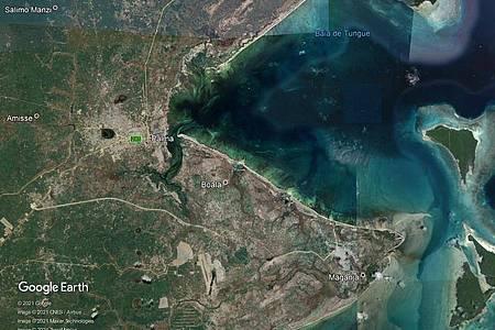 Die undatierte Aufnahme von Google Earth zeigt den Ort Palma in der Provinz Cabo Delgado in Mosambik. Foto: -/Google/dpa