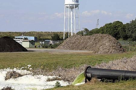 Das ehemalige Düngemittelwerk befindet sich im Bezirk Manatee, südlich von Tampa. Nachdem das Leck in einem Abwasserbecken bekannt geworden war, waren rund 300 Häuser in der Region evakuiert worden. Foto: Douglas R. Clifford/Tampa Bay Times/AP/dpa