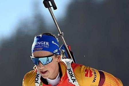 Schlussläuferin der deutschen Staffel, die das Rennen auf Rang elf beendete: Franziska Preuß. Foto: Sven Hoppe/dpa