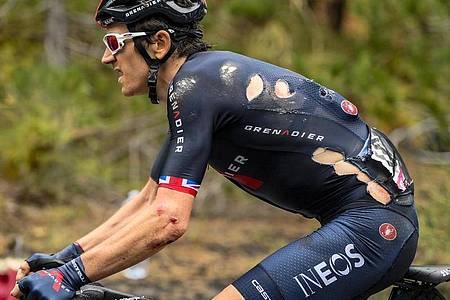 Geraint Thomas war auf der dritten Etappe des Giro d?Italia gestürzt. Foto: Marco Alpozzi/LaPresse/AP/dpa