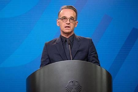 Heiko Maas, Außenminister von Deutschland, spricht im Auswärtigen Amt. Foto: Stefanie Loos/AFP Pool/dpa