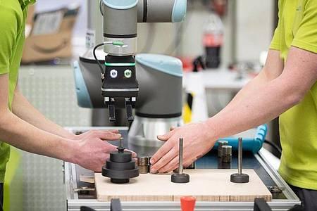 Auszubildende arbeiten in einer Werkstatt. Foto: Friso Gentsch/dpa