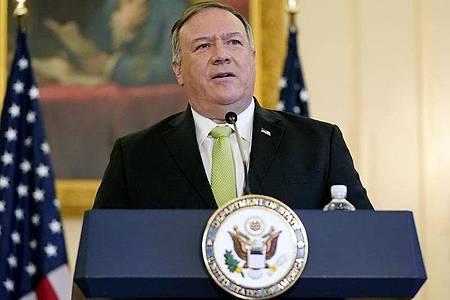 US-Außenminister Mike Pompeo kündigt neue Sanktionen gegen den Iran und seine Unterstützer an. Foto: Patrick Semansky/AP/dpa