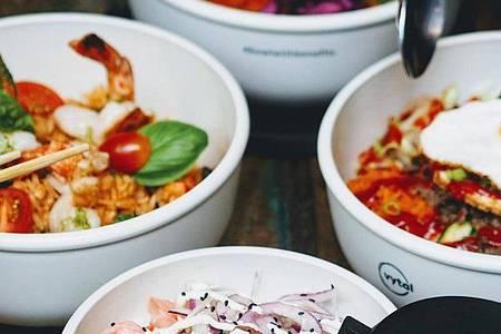 Die Mehrwegschalen des Start-ups Vytal. Der Anbieter stellt Gastronomen Mehrwegverpackungen zur Verfügung. Foto: Vytal/dpa