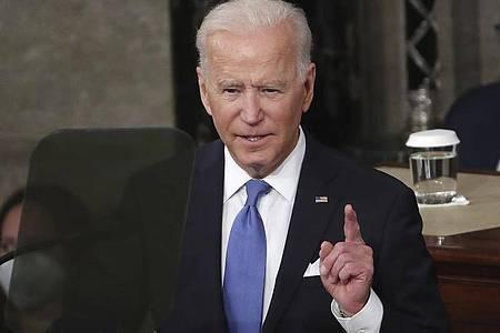 US-Präsident Joe Biden spricht während einer gemeinsamen Sitzung des US-Kongresses. Foto: Michael Reynolds/Pool EPA/AP/dpa