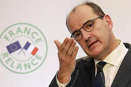 Frankreichs Premier Jean Castex bei einer Pressekonferenz in Paris. Foto: Ludovic Marin/POOL AFP/AP/dpa