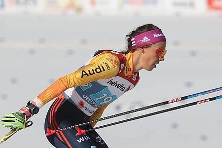 Erreichte mit Victoria Carl das Finale im Teamwettbewerb: Sofie Krehl. Foto: Karl-Josef Hildenbrand/dpa