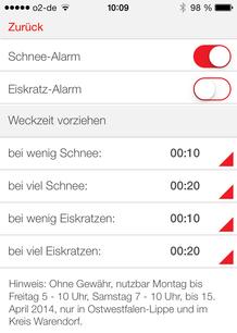 Screenshot aus der Radio-App von der Wecker-Funktion