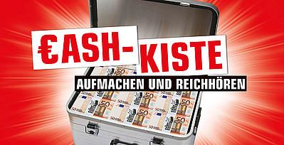 Schriftzug Cash-Kiste