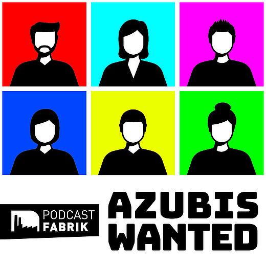 Azubis wanted - Silhouetten von Personen auf bunten Kacheln