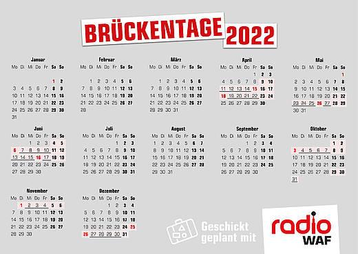Kalender 2022 mit Brückentagen