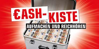 Cash-Kiste mit Schriftzug
